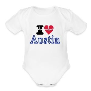 Love Austin Heart - Short Sleeve Baby Bodysuit