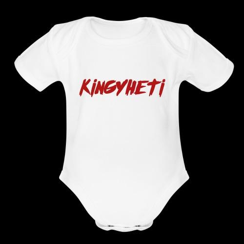 Red KingYheti Logo - Organic Short Sleeve Baby Bodysuit