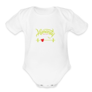 Crossfit Humanity Barbell Green/White Red Heart - Short Sleeve Baby Bodysuit