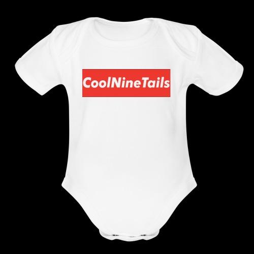 CoolNineTails supreme logo - Organic Short Sleeve Baby Bodysuit