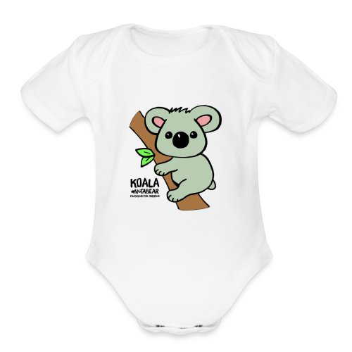 Koala Cute. Art by Paul Bass, assisted by Mollie. - Organic Short Sleeve Baby Bodysuit