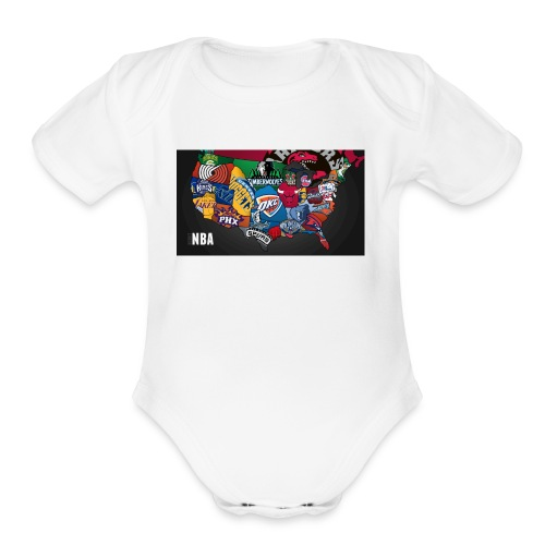 nba all teams - Organic Short Sleeve Baby Bodysuit