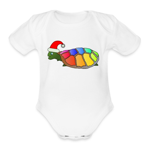 Rainbow Turtle - Organic Short Sleeve Baby Bodysuit