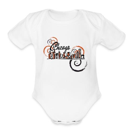 Chicago_Logo - Organic Short Sleeve Baby Bodysuit