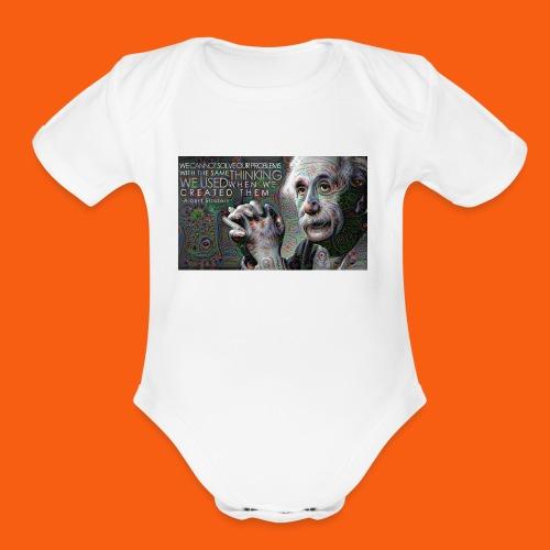 ES1 Einstein Quote - Organic Short Sleeve Baby Bodysuit