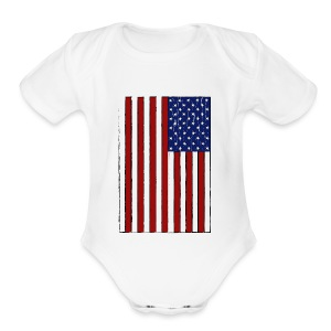 USA Flag (Distressed) - Short Sleeve Baby Bodysuit