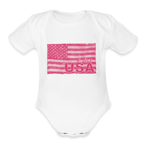 4th July American Flag Independence Day vintage - Organic Short Sleeve Baby Bodysuit