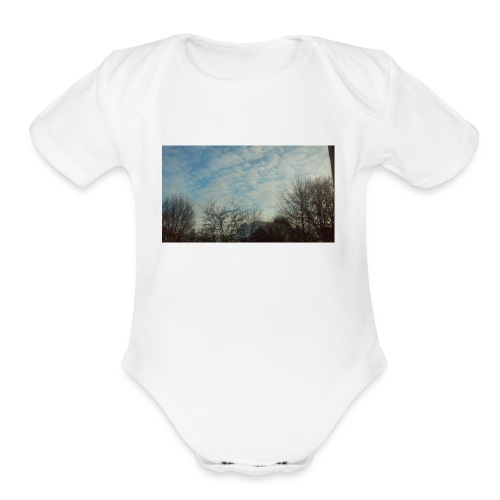 jersery winter sky - Organic Short Sleeve Baby Bodysuit