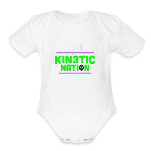 Green Kin3ticNation logo - Organic Short Sleeve Baby Bodysuit