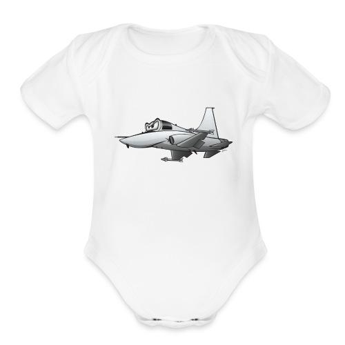 Military Fighter Jet Airplane Cartoon - Organic Short Sleeve Baby Bodysuit