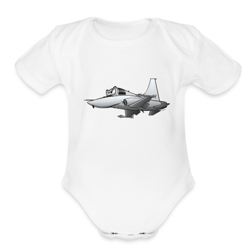 Military Fighter Jet Airplane Cartoon - Organic Short Sleeve Baby Bodysuit