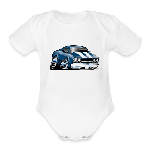 69 Muscle Car Cartoon - Organic Short Sleeve Baby Bodysuit