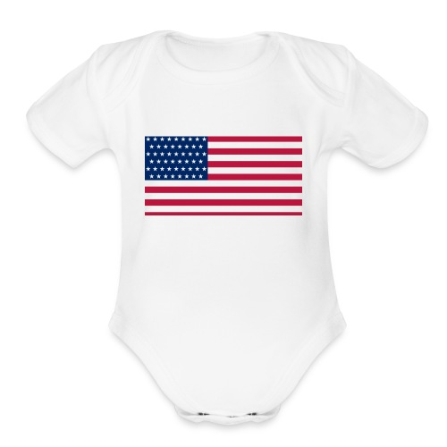 usa flag - Organic Short Sleeve Baby Bodysuit