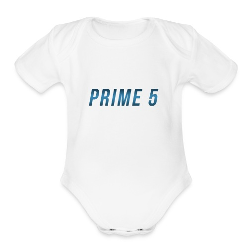 Prime 5 Text Logo - Organic Short Sleeve Baby Bodysuit