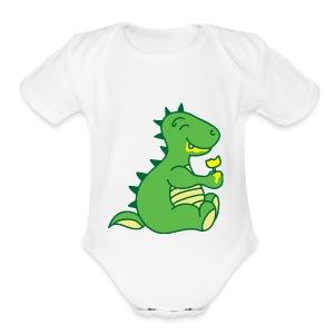 Dinosaurs Love Ice Cream - Short Sleeve Baby Bodysuit