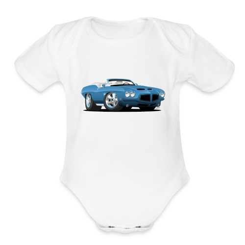 American Classic Seventies Convertible Car Cartoon - Organic Short Sleeve Baby Bodysuit
