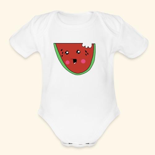 watermelon cutie - Organic Short Sleeve Baby Bodysuit