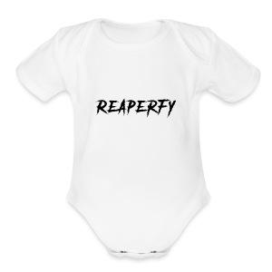 Reaperfy Transparent Logo Black - Short Sleeve Baby Bodysuit