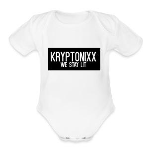 KryptLogoPng - Short Sleeve Baby Bodysuit