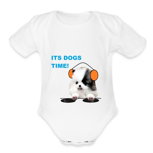 its dogs time! - Organic Short Sleeve Baby Bodysuit