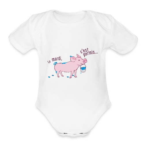 On tuesday everything is allowed - Organic Short Sleeve Baby Bodysuit