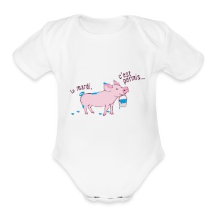 On tuesday everything is allowed - Short Sleeve Baby Bodysuit