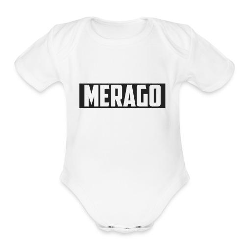 Transparent_Merago_Text - Organic Short Sleeve Baby Bodysuit