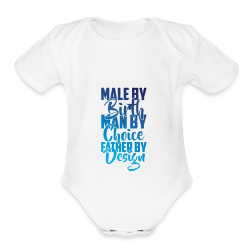 MALE BY BIRTH - MULTI BLUE - Organic Short Sleeve Baby Bodysuit