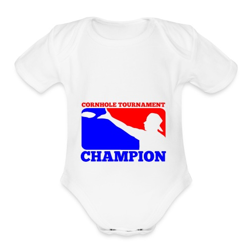 Cornhole Tournament Champion - Organic Short Sleeve Baby Bodysuit