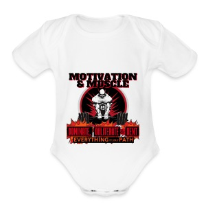 Motivation and Muscle Dominate Obliterate and Dent - Short Sleeve Baby Bodysuit