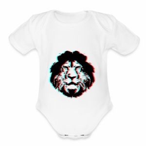 3D Lion Face - Short Sleeve Baby Bodysuit
