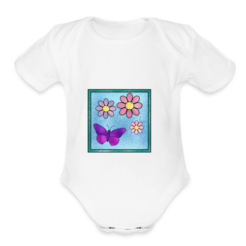 Stained Butterfly 1 - Organic Short Sleeve Baby Bodysuit