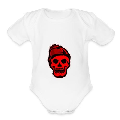 RED Skeleton HaHaHaHa - Organic Short Sleeve Baby Bodysuit