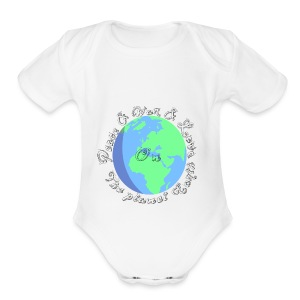 Peace and war and love on the planet earth - Short Sleeve Baby Bodysuit