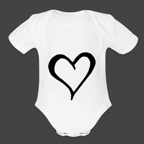 Heart Sketch - Organic Short Sleeve Baby Bodysuit