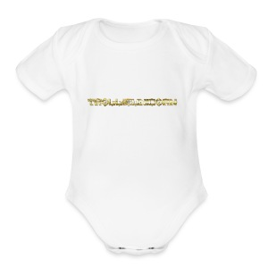TROLLIEUNICORN gold text limited edition - Short Sleeve Baby Bodysuit