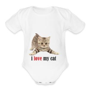 lovecat - Short Sleeve Baby Bodysuit