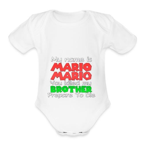 My name is Mario Mario - Organic Short Sleeve Baby Bodysuit