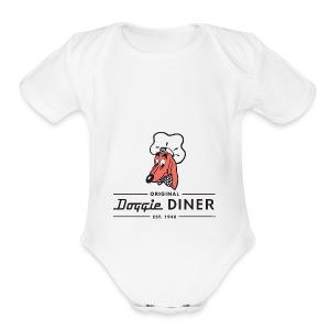 Doggie Diner Logo 1 with NO back color - Short Sleeve Baby Bodysuit