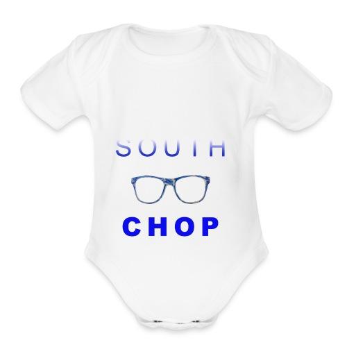 Glasses logo with text - Organic Short Sleeve Baby Bodysuit