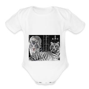 white tigers - Short Sleeve Baby Bodysuit
