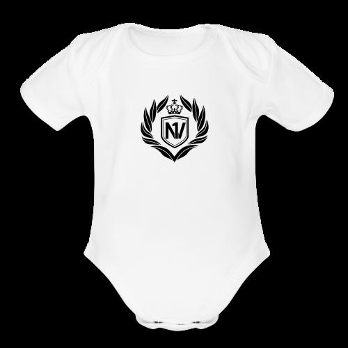 Number One Village Logo Black - Organic Short Sleeve Baby Bodysuit
