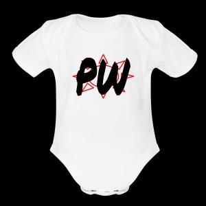 PW Bacon Red&Black - Short Sleeve Baby Bodysuit