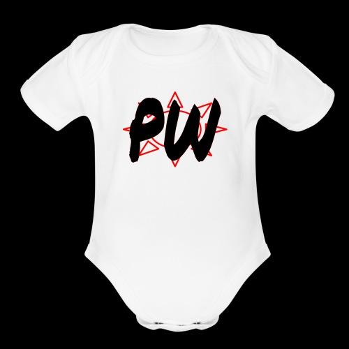 PW Bacon Red&Black - Organic Short Sleeve Baby Bodysuit