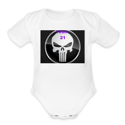 Team 21 white - Organic Short Sleeve Baby Bodysuit