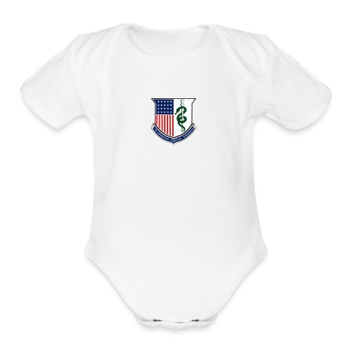 amedd crest - Organic Short Sleeve Baby Bodysuit
