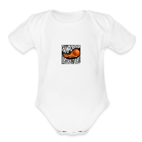 basketball championship banner ball fire icon text - Organic Short Sleeve Baby Bodysuit