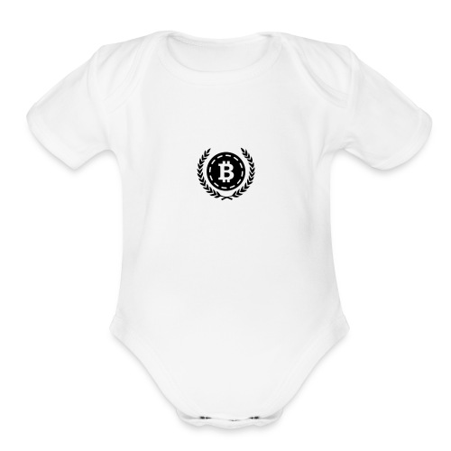 Bitcoin Money with Laurel Leaves - Organic Short Sleeve Baby Bodysuit