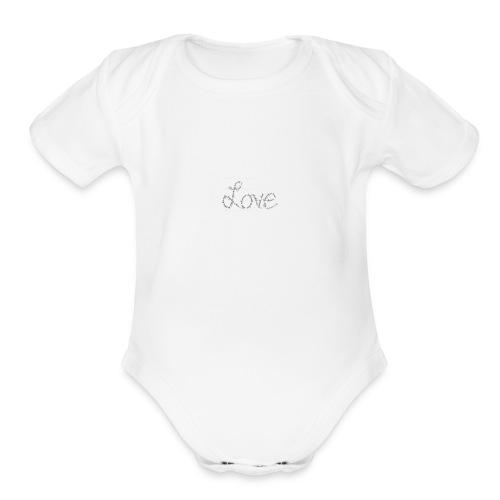 Love written described T-shirt - Organic Short Sleeve Baby Bodysuit