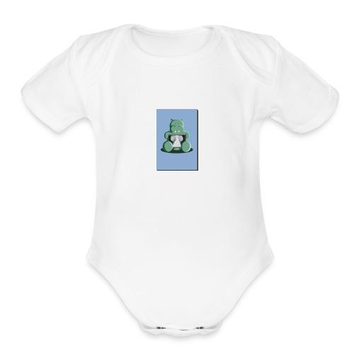x ray hippo - Organic Short Sleeve Baby Bodysuit